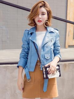 Women's Moto Jacket Light Sky Blue Turndown Collar Long Sleeve Short Sleeve With Zipper