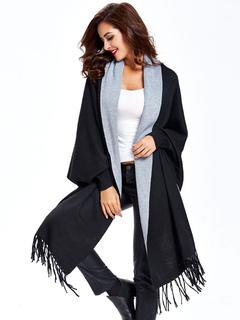 Women's Cardigan Sweater Two Tone Batwing Long Sleeve Open Front Knit Cardigan
