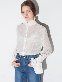 Women's White Blouse Sheer Stand Collar Long Flare Sleeve Sweet Shirt