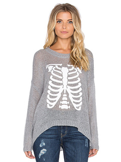 Grey Pullover Sweater Round Neck Long Sleeve Skeleton Printed High Low Knitwear