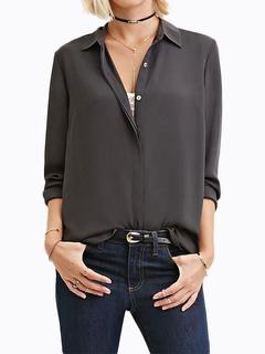 Women's Chiffon Blouse Deep Grey Long Sleeve Turndown Collar Front Buttons Casual Shirt
