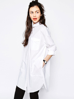 Women's White Blouse Boyfriend Style Turndown Collar Long Sleeve High Low Casual Shirt