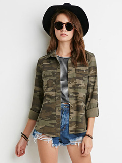 Women's Camo Shirt Cotton Long Sleeve Turndown Collar Blouse With Pockets