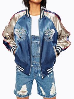 Varsity Jacket Women Embroidered Long Sleeve Zip Up Bomber Jacket