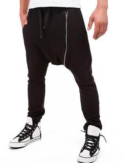 d525837e34 Black Harem Pants Drop Crotch Zipper Decor Men Jogger Pant