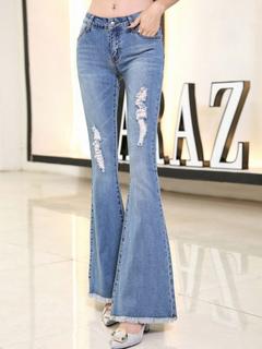Women's Ripped Jeans Light Blue Slim Fit Flared Denim Jeans
