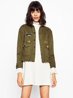 Women's Bomber Jacket Embroidered Fringe Letter Print Women's Long Sleeve Turndown Collar Hook And Eye Short Coat In Hunter Green