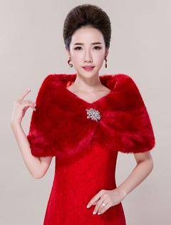Ivory Wedding Shawl Faux Fur Rhinestone Sleeveless Bridal Wrap For Women