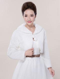 Faux Fur Wedding Jacket Shawls Long Sleeve Wedding Shrug Bolero Coat