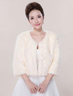 Faux Fur Wedding Jacket 3/4-Length Sleeve Open Front Wedding Shrug