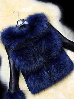 Faux Fur Coat Crewneck Two Tone Slim Fit Womne's Fur Jacket With Leather Long Sleeve