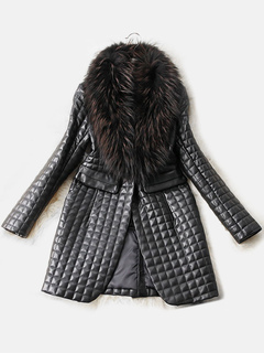 Leather Jacket Women Faux Fur Collar Black Long Sleeve Winter Quilted Coat