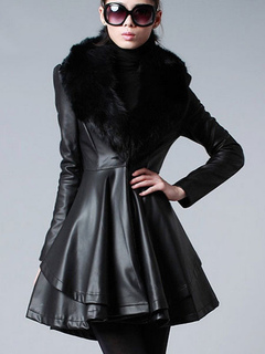 Leather Jacket Women Faux Fur Collar Black Long Sleeve Winter Fit And Flare Coat