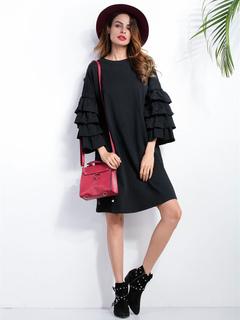 Black Shift Dress Layered Ruffle Long Sleeve Oversized Brocade Dress For Women