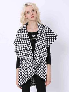 Houndstooth Print Cape Sleeveless Women's Irregular Plaid Winter Vest