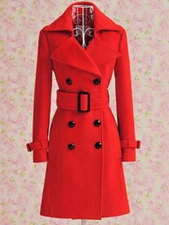 Women Red Peacoat Long Sleeve Double Breasted Button Belt Woolen Overcoat