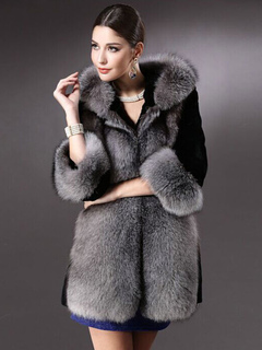 Faux Fur Coat Women Black Long Sleeve Two Tone Hooded Winter Overcoat