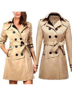 Women Trench Coat Khaki Wrap Coat Long Sleeve Sash Double Breasted Rain Coat