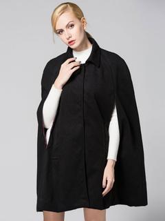 Poncho Cape Coat Black Women's Woolen Oversize Coat For Winter