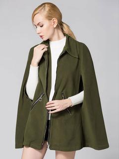 Poncho Cape Coat Women's Plain Woolen Zip Up Oversize Coat For Winter