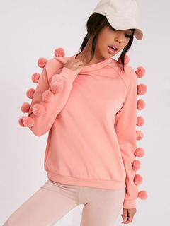 Pink Women's Sweatshirt Pom Poms Stylish Crewneck Hoodie
