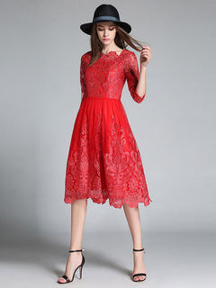 Red Lace Dress Women's Embroidered Bateau Neckline Half Sleeve Slim Fit Flare Dress