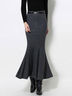 Grey Wool Skirt Women's Slim Fit Bodycon Mermaid Skirt With Belt