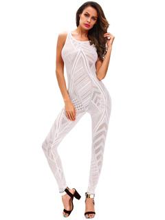 White Long Jumpsuit Sleeveless Women's Hollow Out Skinny Leg Jumpsuit
