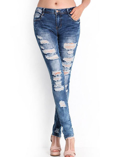 Blue Ripped Jeans Blue Cut Out Zipper Fly Skinny Denim Pants For Women