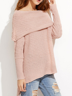 Pink Pullover Sweater Bateau Long Sleeve High Low Casual Sweater For Women