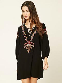 Boho Vintage Dress Black Embroidered V Neck Long Sleeve Oversized Shift Dress For Women