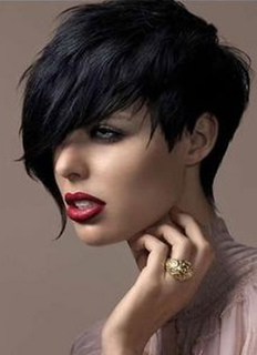 Black Hair Wigs Women's Short Side Swept Bangs Tousled Synthetic Wigs