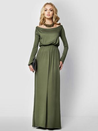 Green Maxi Dress Bateau Neckline Long Sleeve Elastic Waist Pleated Cotton Long Dress