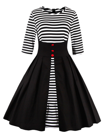 Black Vintage Dress Round Neck 3/4 Length Sleeve Striped Cotton Slim Fit Pleated Flare Dress