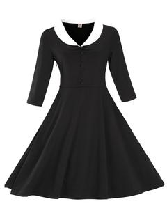 Burgundy Vintage Dress Women's V Neck Half Sleeve Solid Color Flared Dress