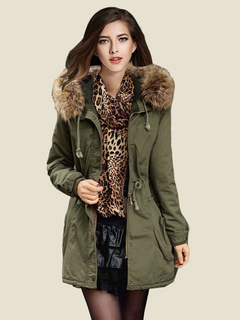 Women Parka Coat Faux Fur Collar Hunter Green  Hooded Long Sleeve Drawstring Winter Coat