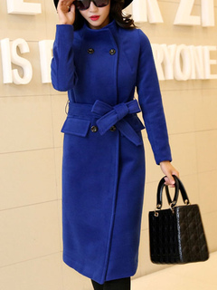 Blue Peacoat Women Woolen Long Sleeve Double Breasted Belt Winter Overcoat