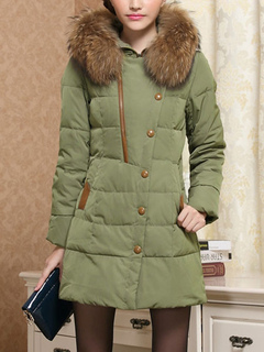 Quilted Winter Coat Faux Fur Hooded Women's Zipper Detail Fit Casual Puffer Coat