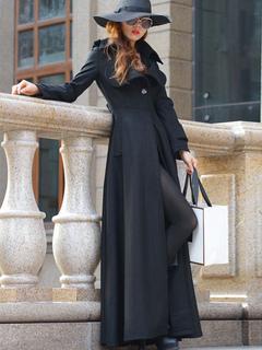 aead57a81807 Manteau long femme hiver avec bouton col à revers manteau pour femme