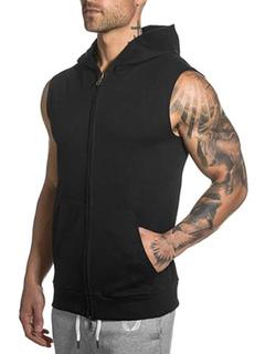 Black Hooded Sweatshirt Men's Sleeveless Zip Up Slim Fit Vest Hoodie