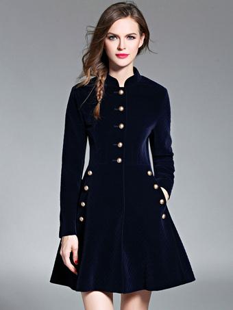 6cc85ab3cf1 Magnifique robe skater mode en velours bleu foncé unicolore avec bouton col  montant