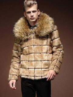 Men's Fur Coat Plus Size Faux Fur Bomber Jacket In Khaki