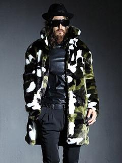 Camouflage Faux Fur Coat Men's Plus Size Hook And Eye Winter Coat