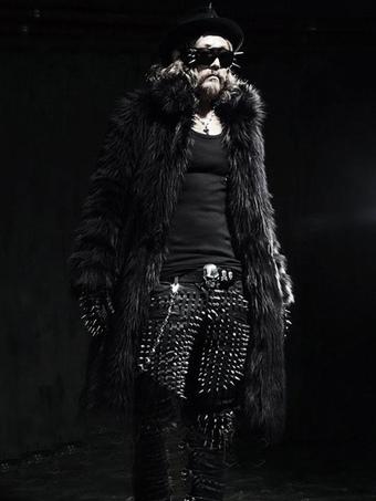 Faux Fur Coat Plus Size Turndown Collar Overcoat Turndown Collar Long Sleeve Men Coat