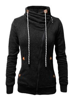 Black Hoodie Women Full Zip Cotton Long Sleeve Drawstring Hoodie Jacket