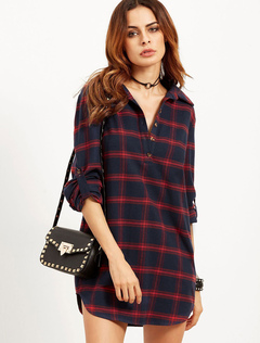 Women's Cotton Blouse Deep Blue Plaid Turndown Collar Long Sleeve Casual Shirt