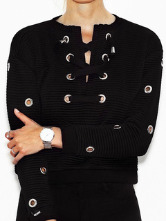 Short Black Sweater Women's Lace Up Grommets Round Neck Casual Pullovers