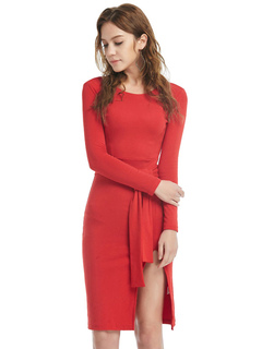 Red Sweater Dress Long Sleeve Split Slim Fit Knit Bodycon Dress For Women With Sash