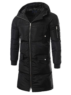 Black Quilted Coat Men's Hooded Long Sleeve Zip Up Slim Fit Cotton Coat