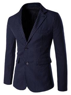 Black Suit Jacket Striped 2-button Long Sleeve Blazer Jacket For Men